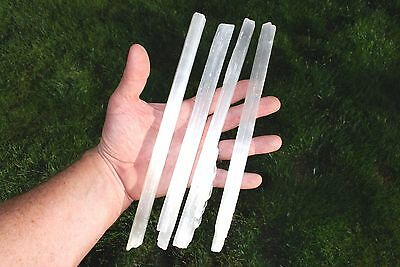 1 LB+ Amazing WHITE Moroccan Selenite Natural Crystal Wands POWERFUL (4 LG pcs)