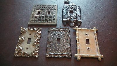 Antique Light Switch Metal Covers - Set of 5