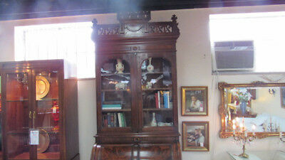 Antique Victorian Walnut Cylinder Desk Bookcase Original Clean