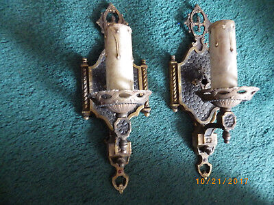 Pair Antique Vintage Art Deco Gothic Wall Sconces Light Fixtures Brass