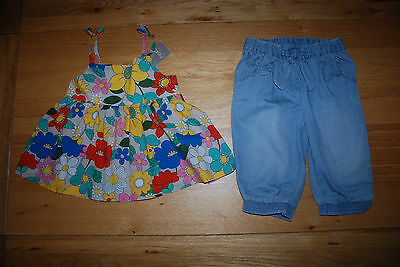 BNWT NEXT girl 2-3 years FLORAL TOP/TUNIC*DENIM CROPPED TROUSERS SET
