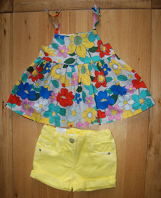 BNWT NEXT girl 2-3 years FLORAL TOP/TUNIC*YELLOW DENIM SHORTS SUMMER SET