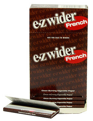 One (1) Box of E-Z Wider French Cigarette Rolling Papers - 24 Booklets/Box