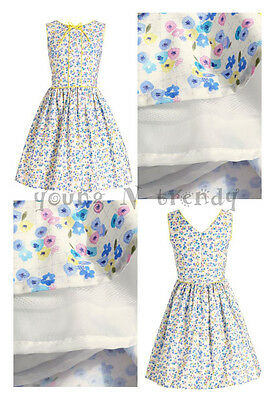 BNWT NEXT 3-4*5-6 years girls FLORAL PROM DRESS WHITE/BLUE/YELLOW *SUMMER!