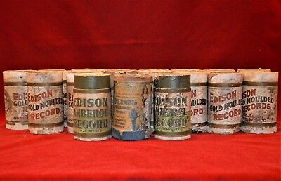 Antique Cylinder Phonograph Record Empty Container Lot of 18 Edison Gold Moulded