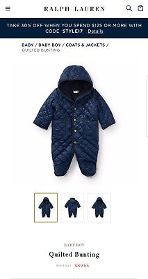 Boys infant Polo Ralph Lauren puffer snowsuit quilted bunting blue /9m