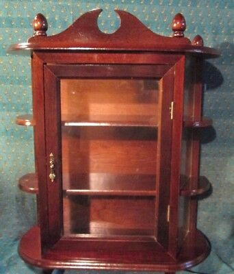 Table Top or Wall Wood Curio Cabinet W/ CURVED GLASS SIDES & shelves 23 X 19 ""