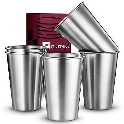 FineDine Premium Grade Stainless Steel Pint Cups Water Tumblers (5 Piece)