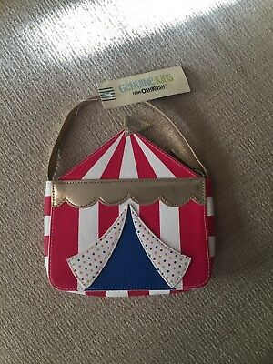 Genuine kids from Oshkosh circus purse bag white gold blue red dots