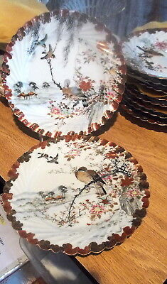 "6 Handpainted Signed 8.75"" Oriental Dessert Plates - Different Birds on Each #1"