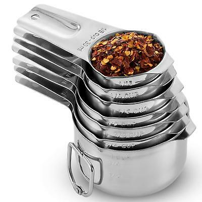 Stainless Steel Measuring Cups Made of 1 Solid Piece 18/8 Stainless Steel 7 pc
