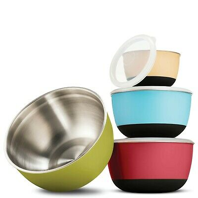 Multicolor Stainless Steel Mixing Bowls - Premium 5 Piece Set With Sealed lids,