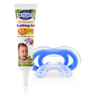 Nuby Gum-eez Baby Teether Chew Dummy with All Natural Teething Gel 4months +