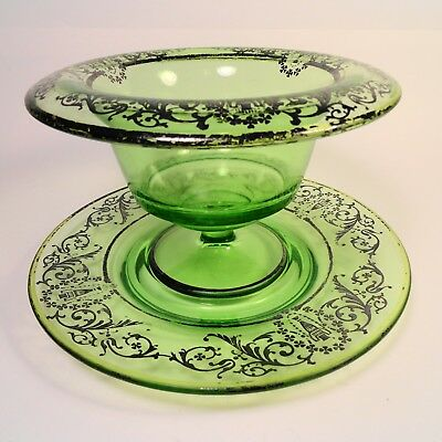 Antique emerald green glass Compote Bowl & Plate set Silver Filigree accents