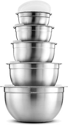 FineDine Premium Various Sizes Stainless Steel Mixing Bowl (5 Piece) With Lids