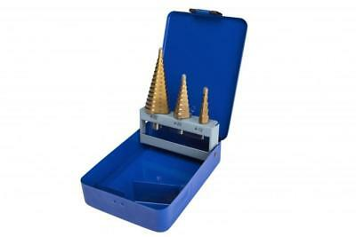 Titanium Coated Step Drill Driils Set Cone Hole Cutters 3pc Set 4mm - 32mm