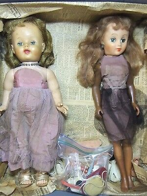 """Lot of 2 1940s-50s Large 18"""" EE-GEE Dolls & Jewelry Accessories Shoes"""