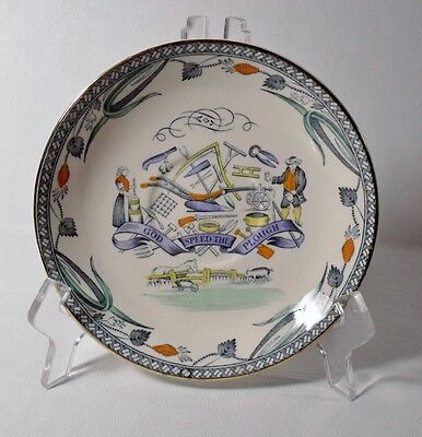 """Burgess & Leigh FARMERS ARMS 6-1/4"""" Saucer, Gold Trim """"God Speed The Plough"""""""