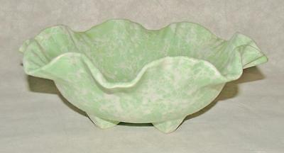 Vintage Spring Pastel Green & White Shawnee Fancy Ruffled Rim footed Bowl # 2503