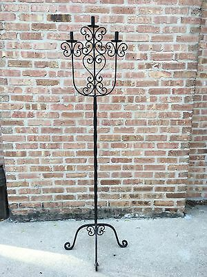 "Vintage Mid Century Gothic Wrought Iron Candelabra 3 Candle Holder 68"" Tall"