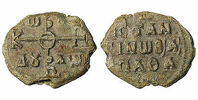 Byzantine lead seal 8th cent Constantinus Royal swordsmith Chief R2 arscoin B11
