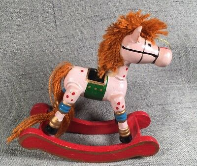 Vintage Hand Painted Wooden Christmas Ornament Rocking Horse