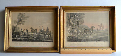 Pair of Vintage PRINTS By CARLE VERNET Tinted French Gold FRAMED Art Under Glass