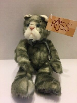 """Russ Berrie Cat Tabitha Bears From The Past  Grey & White Stacey's Hallmark 9"""""""