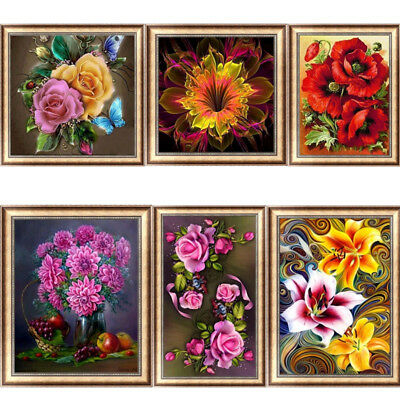 Flower DIY 5D Diamond Painting Embroidery Rose Cross Stitch Kit Home Decor Gift