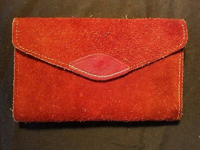 Vintage Genuine Leather Trifold Womens Wallet Clutch Burnt Orange Red Handmade
