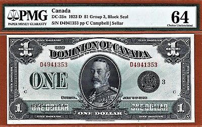 Dominion of Canada $1 DC-25n 1923 Series 'D' pp 'C' Pick-33nj PMG 64 Ch UNC