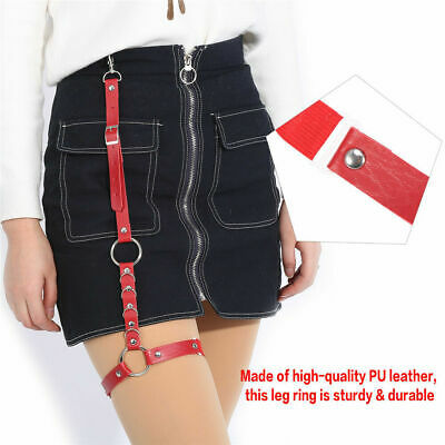 Fashion PU Leather Garter Belt Leg Ring Thigh Harness with Strap for Short Jean