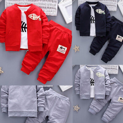 3PCS Kids Baby Fish Clothes Boys Clothes Outfits Suit Top Coat +T Shirt +Pants