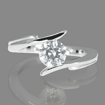 1/3 CT Solitaire Diamond Engagement Ring Enhanced Round Cut H/VS2 14K White Gold