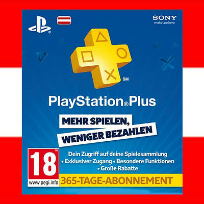 SONY PSN Live Card Plus 1 Jahr 365 Tage Playstation 3 4 PS+ PS3 PS4 PSP - AT