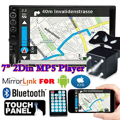 Camera + Double 2 Din Car Stereo Radio MP5 Player Mirrorlink For GPS Android IOS