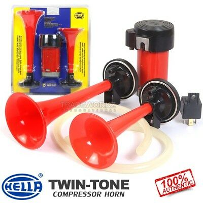 (Pair) New & Genuine HELLA Red Trumpet Air Twin Tone Commercial Car 4x4 Horn Set