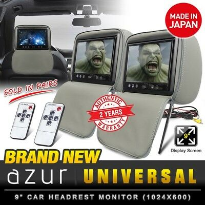 """(Pair) New AZUR 9"""" TFT LCD Grey Car DVD Player Leather Headrest Monitor (Japan)"""