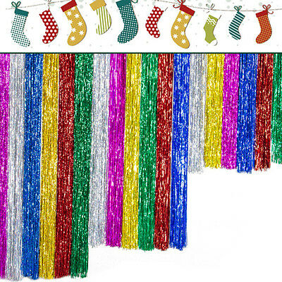 1X Metallic Tinsel Curtain Foil Christmas Shiny String Door Decor 100X10cm new