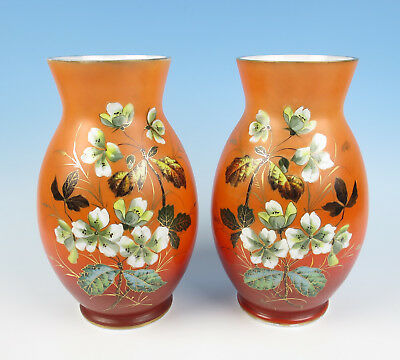 Pair Large Antique Bohemian Enameled Opaline Glass Vase Victorian Gold Flowers