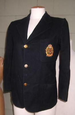 Vtg Beau Brummel Trimingham navy wool school blazer engineer crest c-36