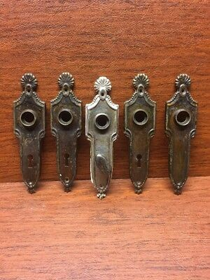 Lot Of 5 Matching Vintage Door Back Plates Key Lock