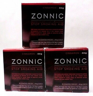Zonnic Gum Stop Smoking Aid 4 mg CINNAMON Flavored 10 Pieces Exp 02/18 LOT OF 3