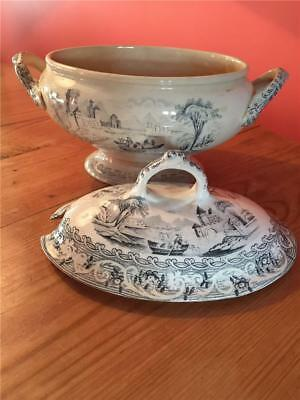 TU01 Antique Victorian British Anchor Pottery Co Ltd Tureen, Lid and Stand