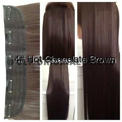 UK Brown Clip In Hair Extensions Synthetic 1PC Thick Long Straight 3/4 Full Head