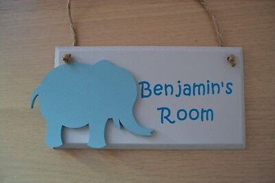 Elephant - Wooden Wall Door Plaque Sign For Children's Kids Baby Room
