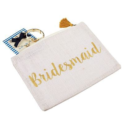 Mud Pie Wedding  Bridesmaid Carry All  White Jute with Gold Lettering  NEW