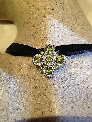 Vintage Genuine Peridot Real White Sapphire 925 Sterling Silver Antique Pendant