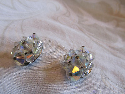 "Silver Tone & Clear Faceted Glass Clip On Earrings Unknown Vintage 0.75"" across"