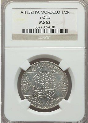 AH 1321 PA Morocco 1/2 Rial, NGC MS 62, Scarce Date, 1903 - 1904